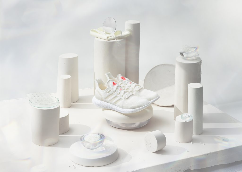 White adidas shoes design and plastic crisis