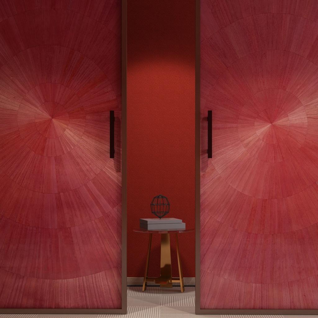 Red veneer wallcovering